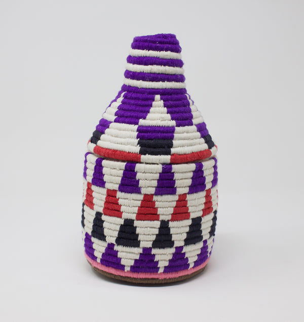 Moroccan Bread Basket Purple & White