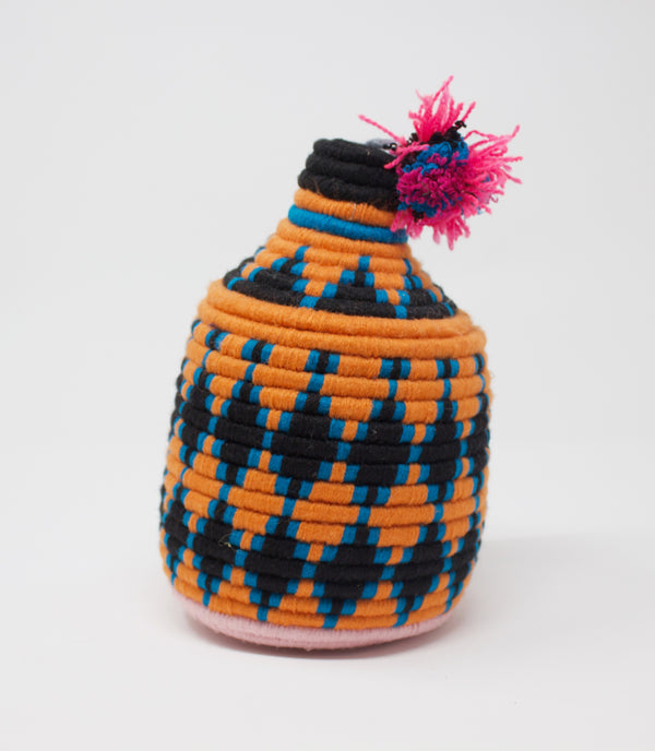 Moroccan Bread Basket Tiger with Pom Top