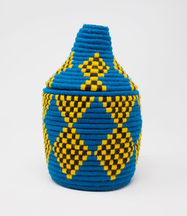 Moroccan Bread Basket Yellow Checker