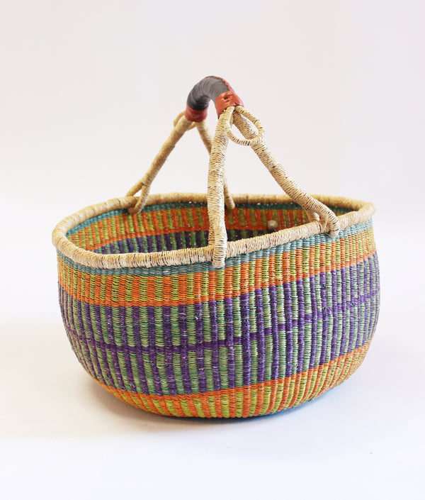 Baba Tree Round Basket Purple and Green Stripe
