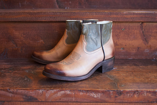 Talula de la Lune Low Cut Boots Olive/Brown