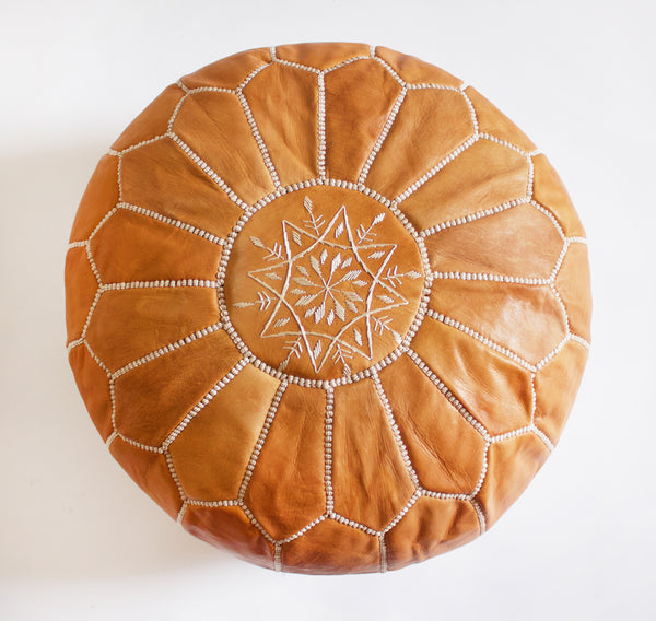 Caravan West Leather Pouf Tan