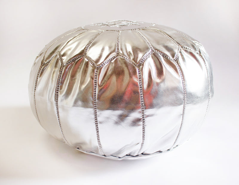 Caravan West Leather Pouf Silver