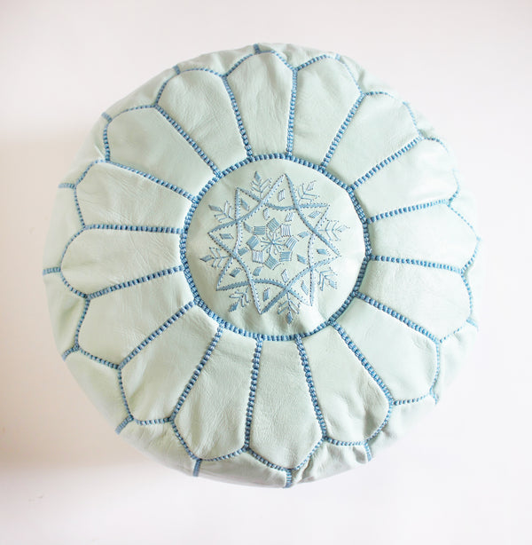 Caravan West Leather Pouf Light Blue