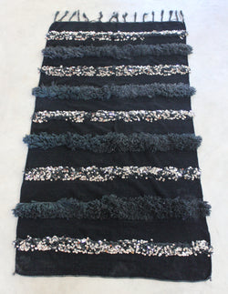 Moroccan Wedding Blanket Black Sequins