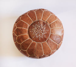 Caravan West Moroccan Leather Pouf