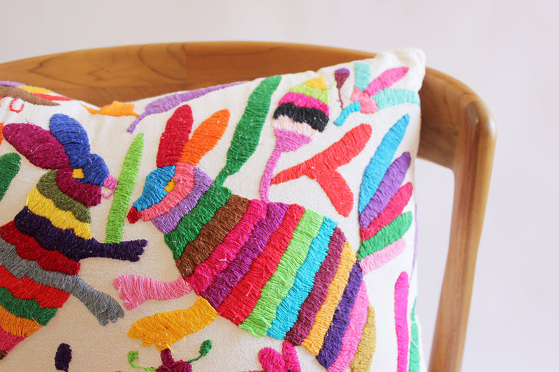 Embroidered Rabbits Pillow