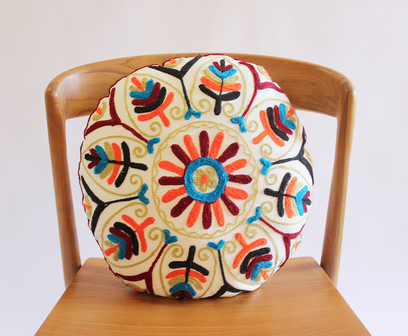 Round Embroidered Pillow
