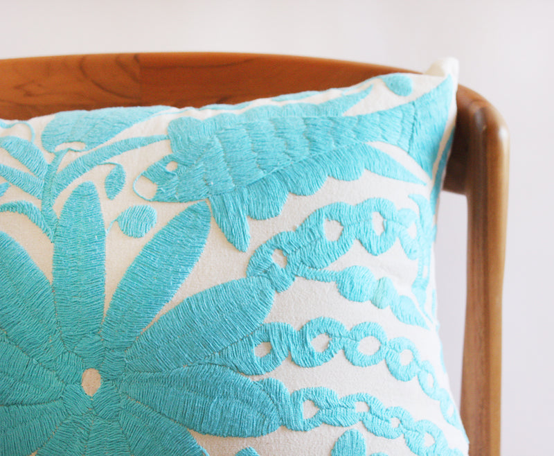 Embroidered Blue Fish Pillow