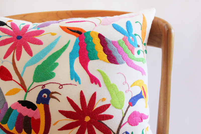 Embroidered Bird & Rabbit Pillow