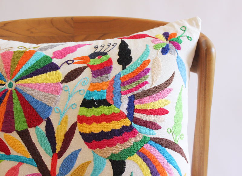 Embroidered Phoenix Oaxacan Pillow