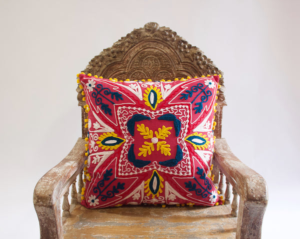 Embroidered Yellow Pom Pillow