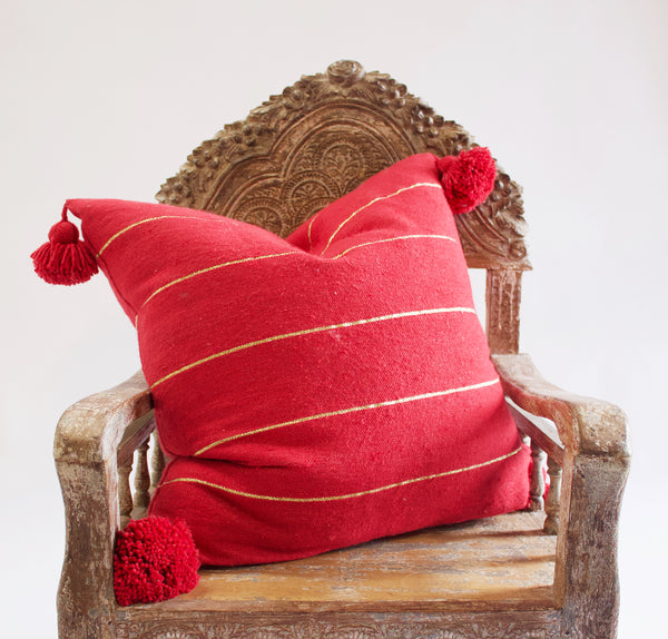 Large Moroccan Pom Pillow Red
