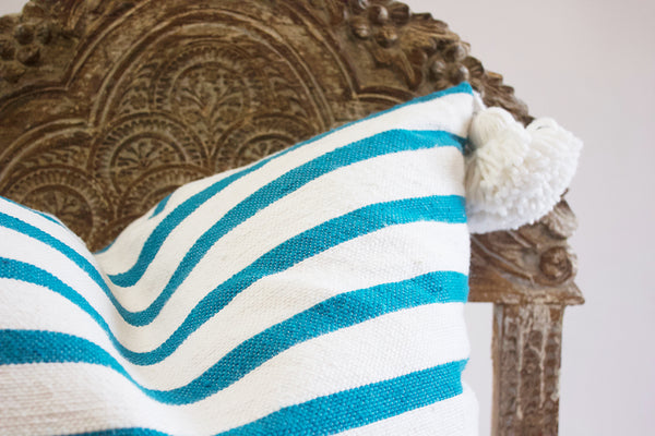 Large Moroccan Pillow Blue Stripes