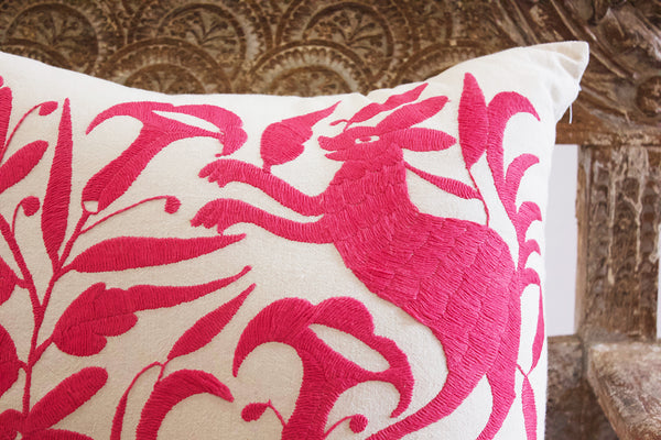 Embroidered Pink Alebrijes Pillow