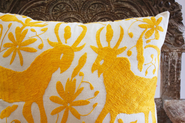 Embroidered Yellow Cattle Pillow