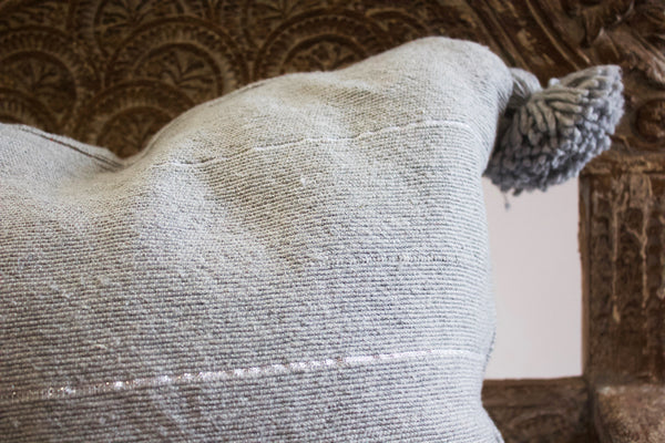 Moroccan Pom Pillow Grey