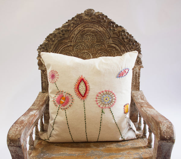 Indaba Flora Embroidered Cushion II
