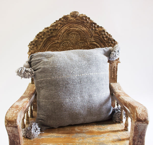 Moroccan Pom Pillow Dark Charcoal