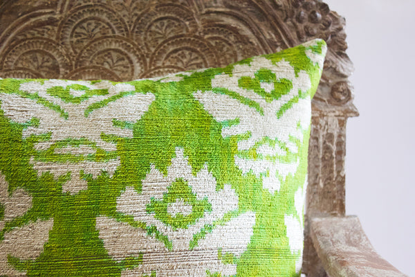 IKAT Leaf Green Pillow