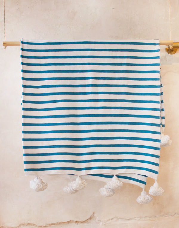 Moroccan Pom Pom Blue Striped Blanket
