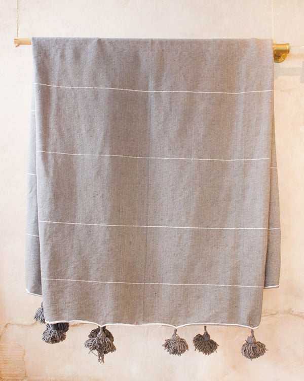Moroccan Mixed Metallic Blanket Dark Grey