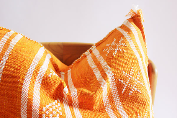 Embroidered Pillow Orange