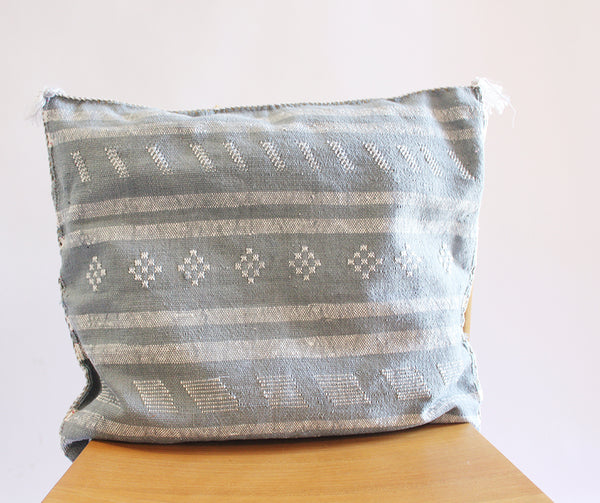Embroidered Pillow Slate Blue