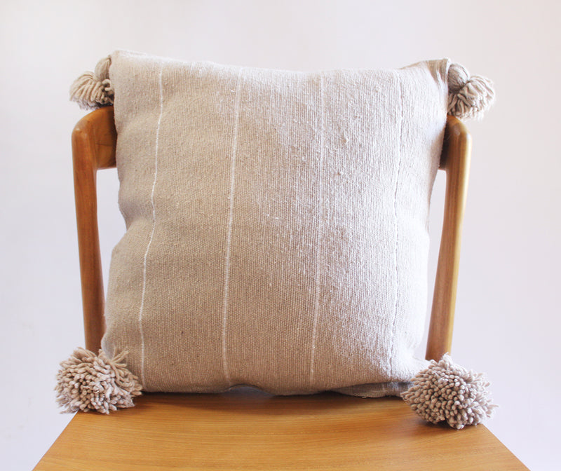 Moroccan Pom Pillow Light Taupe