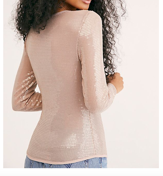 Free People Diamond Eyes Sequin Long Sleeve