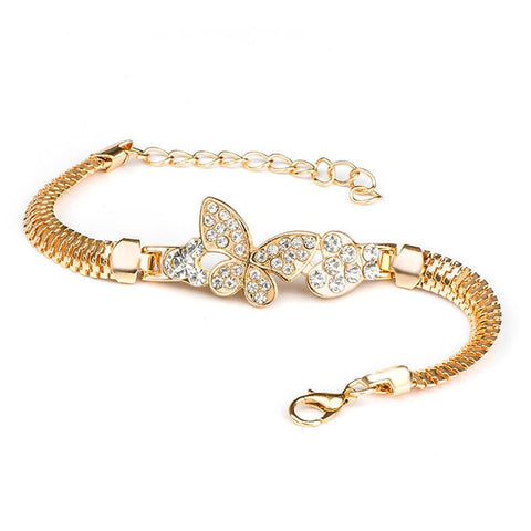 Gold Color Alloy Crystal & Rhinestone Flash Cuff Chain wrap Bracelet Bangle