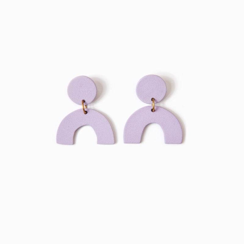 Lavender handmade ceramic statement earrings.