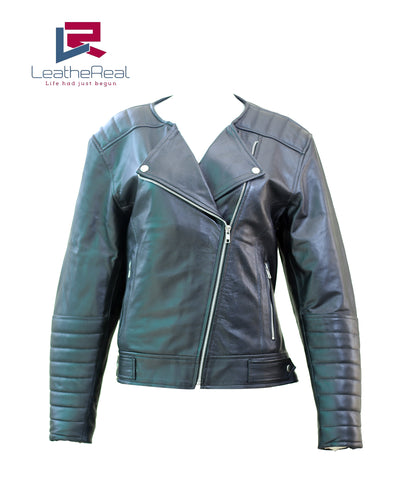 Leather real sheep motor cycle jacket without collar