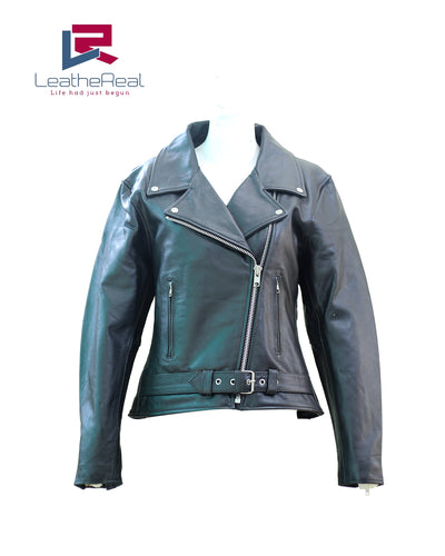 Leather real buffalo motor bike jacket with extra grip