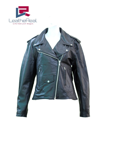Leather real sheep motor bike jacket with extra buckle grip