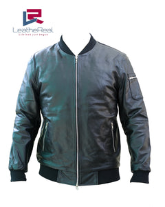 Leather real bomber jacket with side arm pocket