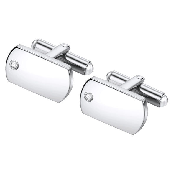 Stainless Steel Single CZ cuff links