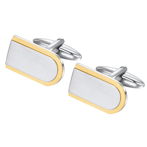 Two Tone cuff links yellow edges