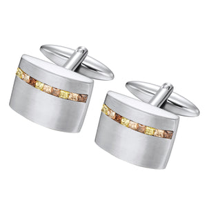 Stainless Steel Champagne CZ cuff links