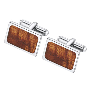 Stainless Steel wood grain cuff links