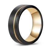 Black tungsten band with gold accent