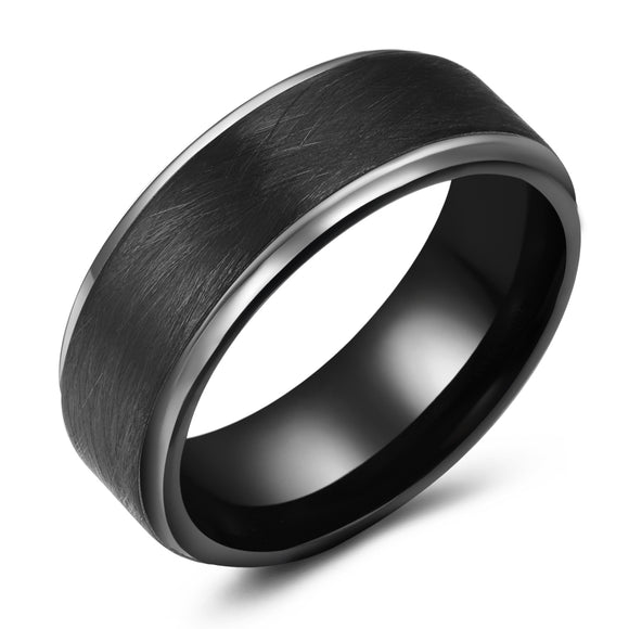 Textured black tungsten band with white edges