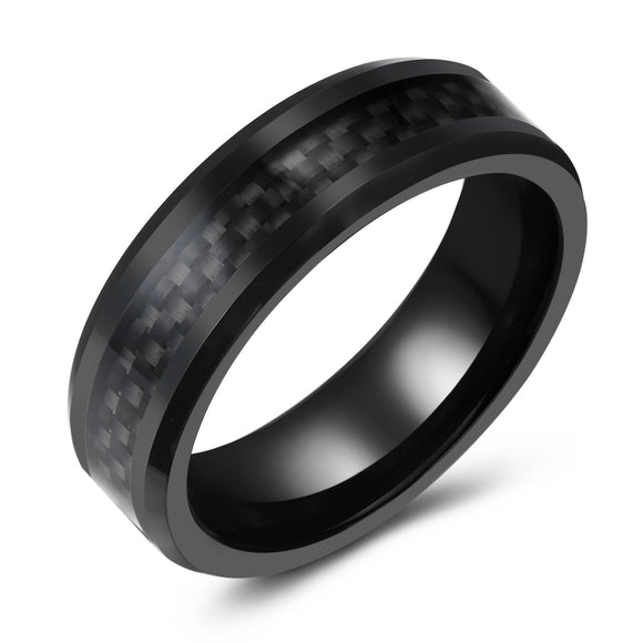 Black Tungsten with Black Carbon Fiber Inlay