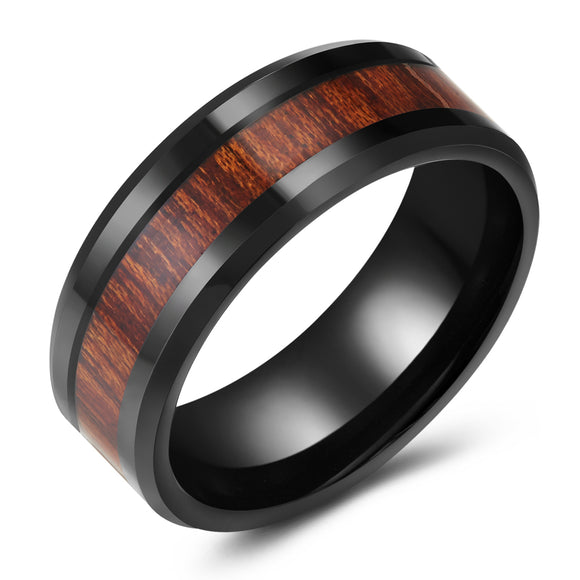 Wood Grain Black Tungsten Ring