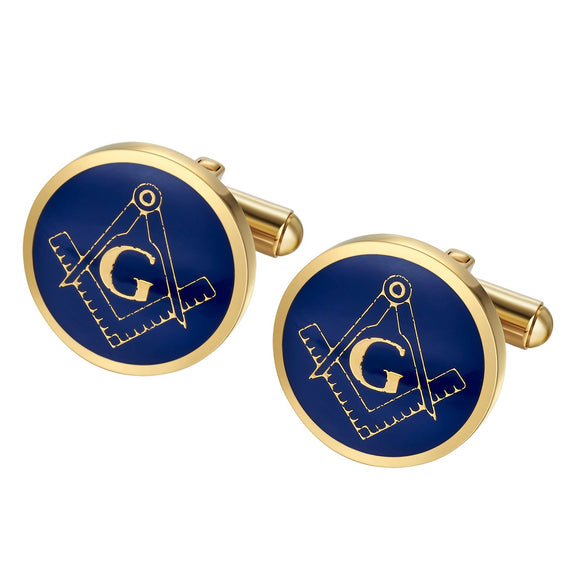 Yellow Gold Plated Steel Blue Masonic Cuff Links