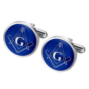 Stainless Steel Blue Masonic Cuff Links