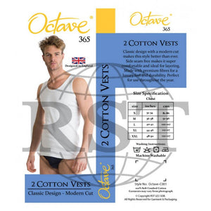 C001: Pack Of 2 Octave 365 Mens 100 Soft Combed Cotton Vests Interlock Classic Design Modern Cut Either In Black Or White