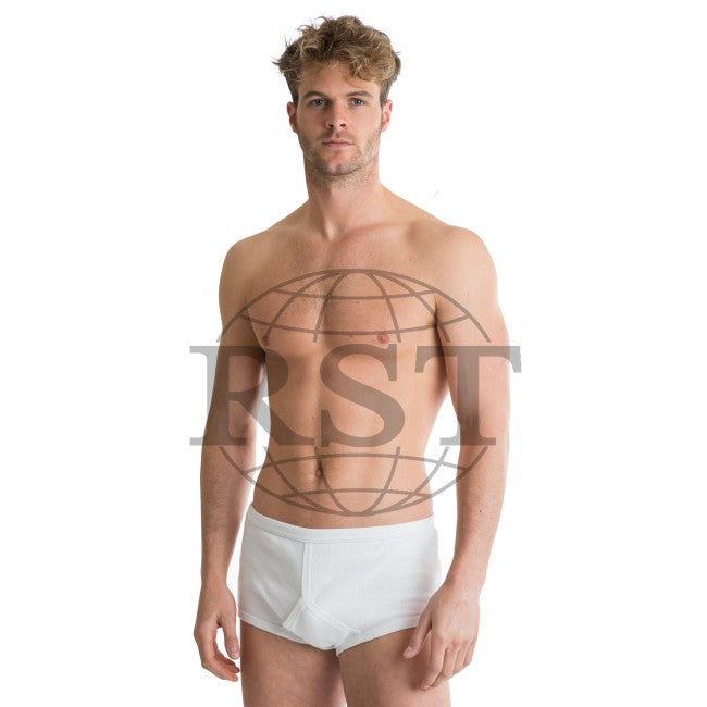 C003: Pack Of 2 Octave 365 Mens 100 Soft Combed Cotton Y Style Full Traditional Briefs Interlock Classic Design Modern Cut Either In Black Or White