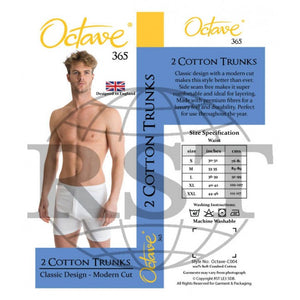 C004: Pack Of 2 Octave 365 Mens 100 Soft Combed Cotton Trunks Interlock Classic Design Modern Cut