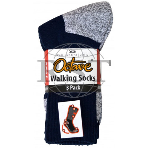S009-4/8: 3 Pack: Mens Trekking Cushioned Walking Socks
